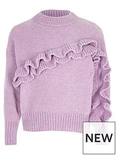 river-island-girls-light-purple-chenille-frill-jumper