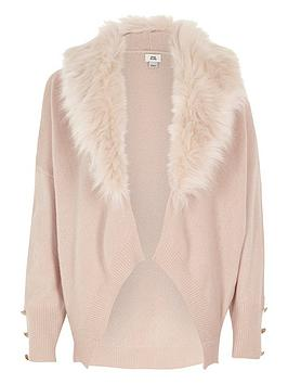 river-island-girls-pink-faux-fur-collar-cardigan