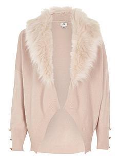 river-island-girls-pink-fur-collar-cardigan