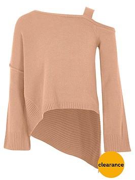 river-island-girls-pink-cold-shoulder-asymmetric-jumper