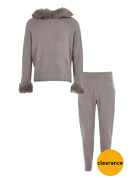 river-island-girls-grey-faux-fur-trim-knitted-jogger-outfit