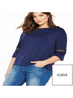v-by-very-curve-lace-trim-fluted-sleeve-shell-top