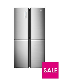 Hisense RQ689N4AC1 91cm Wide Total Non Frost American Style Multi-Door Fridge Freezer - Stainless Steel Look