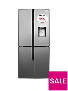 Hisense RQ560N4WC1 79cm Wide Frost-Free American Style Multi-Door Fridge Freezer with Water Dispenser - Stainless Steel Look