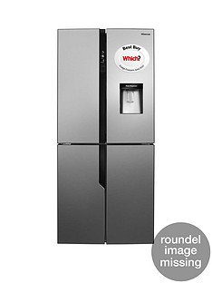Hisense RQ560N4WC1 79cm Wide Total Non Frost American Style Multi-Door Fridge Freezer with Water Dispenser - Stainless Steel Look