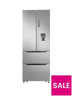 Hisense RF528N4WC1 70cm Wide Total Non Frost French Door Style Fridge Freezer with Water Dispenser - Stainless Steel Look