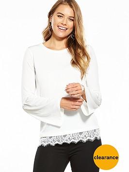 v-by-very-jersey-gathered-lace-hem-top-white