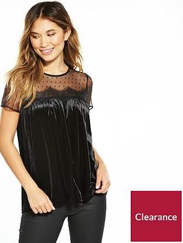v-by-very-polka-mesh-velvet-top-black