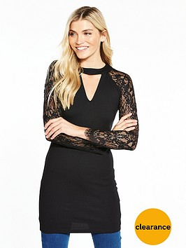 v-by-very-lace-choker-tunic-black