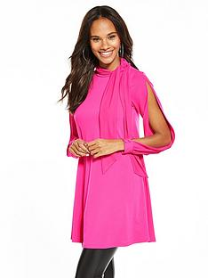 v-by-very-crepe-bow-neck-tunic