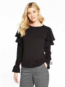 v-by-very-long-sleeve-frill-tie-cuff-top