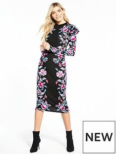 v-by-very-ruffle-shoulder-bodycon-midi-dress