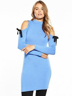 v-by-very-tie-cold-shoulder-tunic-blue