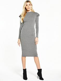 v-by-very-ruffle-shoulder-bodycon-midi-dress-grey-marl