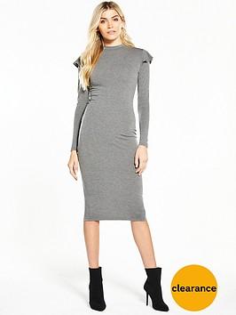 v-by-very-ruffle-shoulder-bodycon-midi-dress-grey-marl
