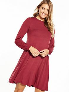 v-by-very-jersey-tie-back-ribbon-swing-dress-berry
