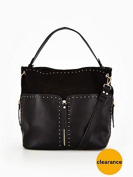 miss-selfridge-black-stud-hobo-bag