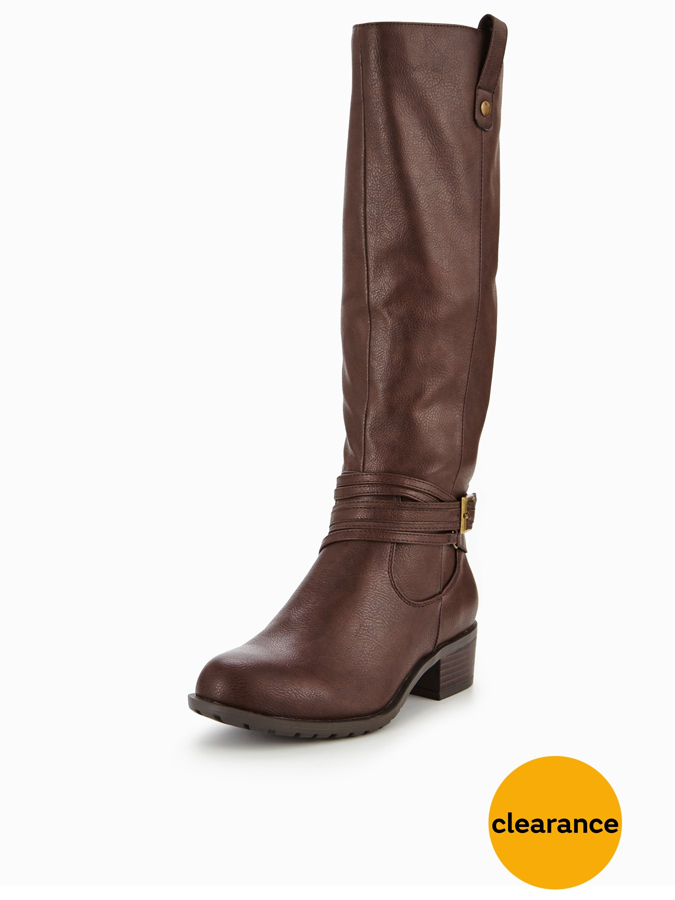 V by Very Anchor Block Heel Strap Knee High Boot Brown 1600182080 Women's Shoes V by Very Boots