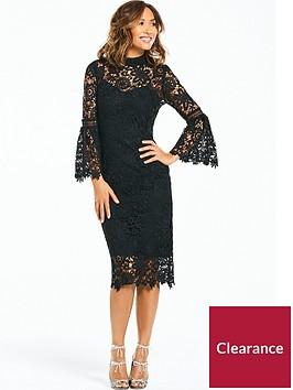 myleene-klass-lace-midi-dress-with-flute-sleeve-black