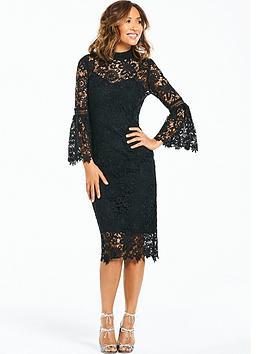 Myleene Klass Lace Midi Dress With Flute Sleeve - Black