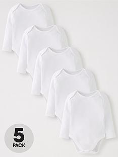 v-by-very-baby-unisex-5-pack-long-sleeve-bodysuits-white