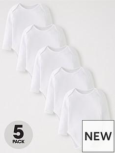 v-by-very-baby-unisex-5-pack-long-sleeve-bodysuits-white