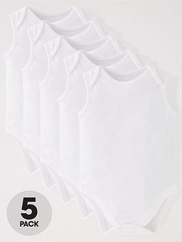 mini-v-by-very-baby-unisex-5-pack-sleeveless-white-bodysuits