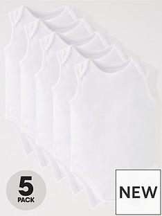 mini-v-by-very-baby-unisex-5pk-sleeveless-white-bodysuits