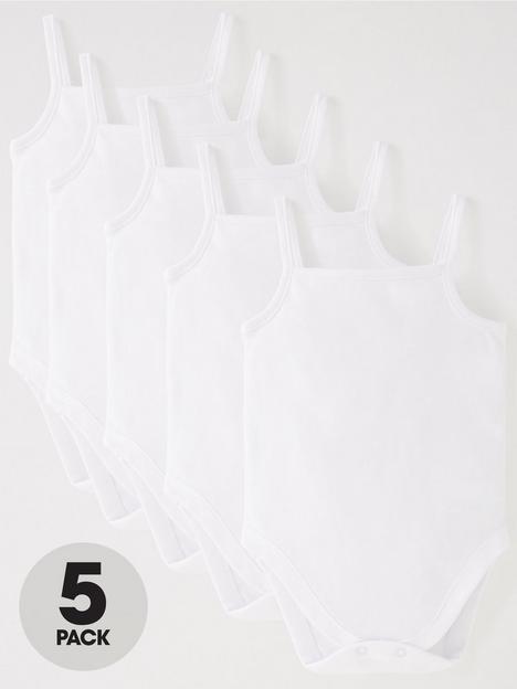 v-by-very-baby-unisex-5-pack-strappy-vests-white