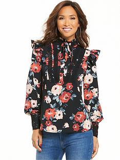 myleene-klass-printed-ruffle-high-neck-blouse