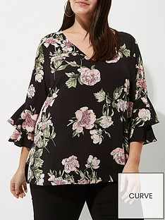 river-island-ri-plus-double-trumpet-sleeve-top