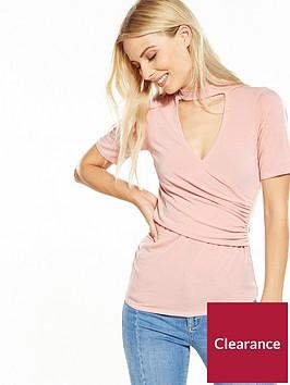 v-by-very-choker-wrap-jersey-top-blush