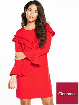 v-by-very-frill-tie-sleeve-tunic-dress-red