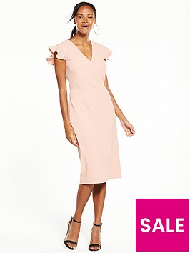 v-by-very-frill-sleeve-pencil-dress-pink