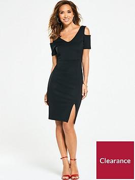 myleene-klass-v-neck-cold-shoulder-bodycon-dress-black