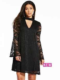 v-by-very-lace-fluted-sleeve-swing-dress