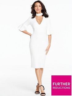 michelle-keegan-fluted-sleeve-bodycon-midi-dress