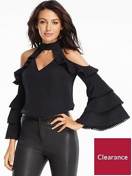 michelle-keegan-trim-detail-layered-cold-shoulder-blouse