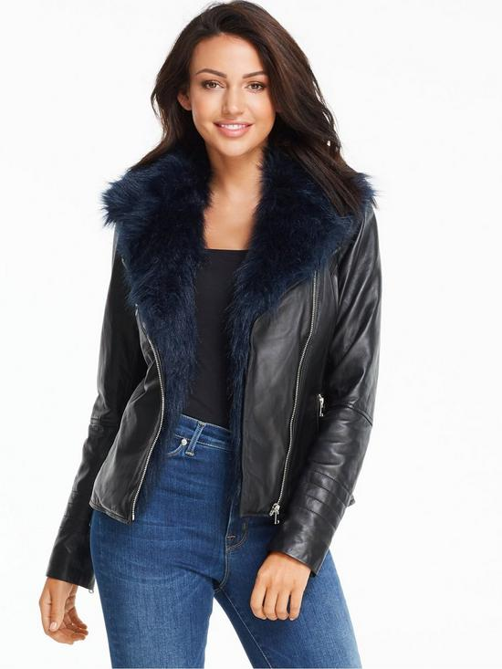 Michelle Keegan Faux Fur Collar Premium Leather Jacket | very.co.uk