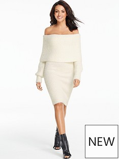 michelle-keegan-bardot-knitted-long-sleeve-dress