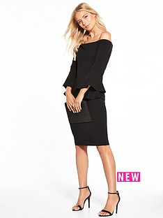 v-by-very-bardot-fluted-sleeve-pencil-dress