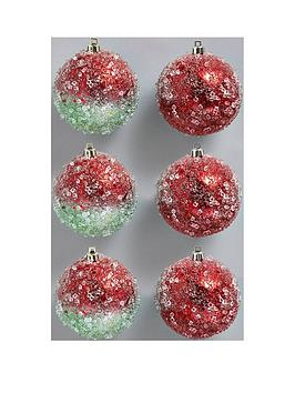 redgreen-snowy-christmas-tree-baubles-6-packnbsp3-x-red-amp-3-x-redgreen