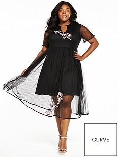 lost-ink-curve-premium-mesh-dress-with-embroidery