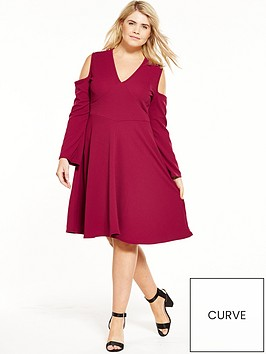 lost-ink-curve-lost-ink-curve-fit-amp-flare-dress-with-cold-shoulder