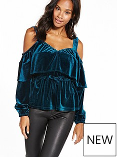 lost-ink-velvet-drawstring-bardot-top