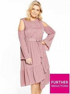 lost-ink-curve-cold-shoulder-dress-with-asymmetricalnbsphem-pink