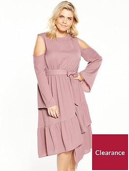 lost-ink-plus-cold-shoulder-dress-with-asymmetricalnbsphem-pink