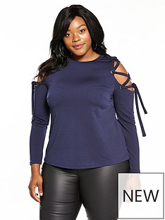 lost-ink-curve-top-with-eyelet-lace-up-sleeve-navy