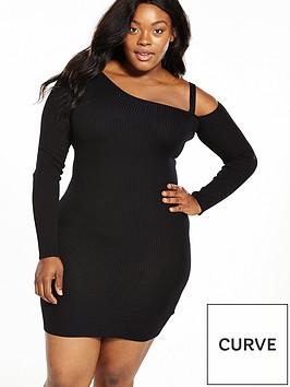 lost-ink-curve-cold-shoulder-bodycon-dress-black