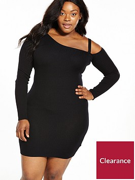 lost-ink-plus-cold-shoulder-bodycon-dress-black